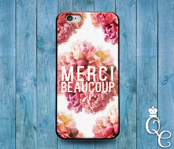 iPhone 4 4s 5 5s 5c SE 6 6s 7 plus iPod Touch 4th 5th 6th Generation Cute French Quote Pink Floral Flower France Thank You Phone Cover Case