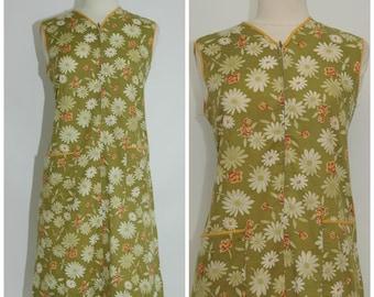 70s green floral summer dress/seventies sleeveless green flower dress/ size M/L