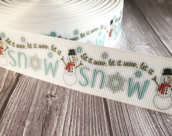 "Snowman ribbon - Let it snow - 1"" Christmas ribbon - Frosty the snowman - Snowflake ribbon - White blue ribbon - White Christmas - Crafts"