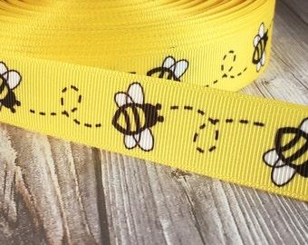 "Bumble bee ribbon - 7/8"" Grosgrain ribbon - Flying bee - Buzz bee ribbon - Yellow black white - Honey bee - I love honey - Cute little bee"