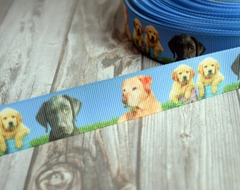 Labrador retriever - Labrador ribbon - 3 or 5 yard lot - Black lab puppy - Golden lab puppy - Cute dog ribbon - Retriever puppies - DIY