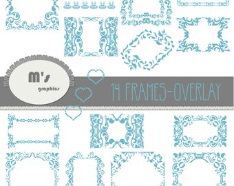 Frames Labels Hearts Blue Heaven Damask Overlay. Transparent, to use with favourite background. Everyday is Valentine!
