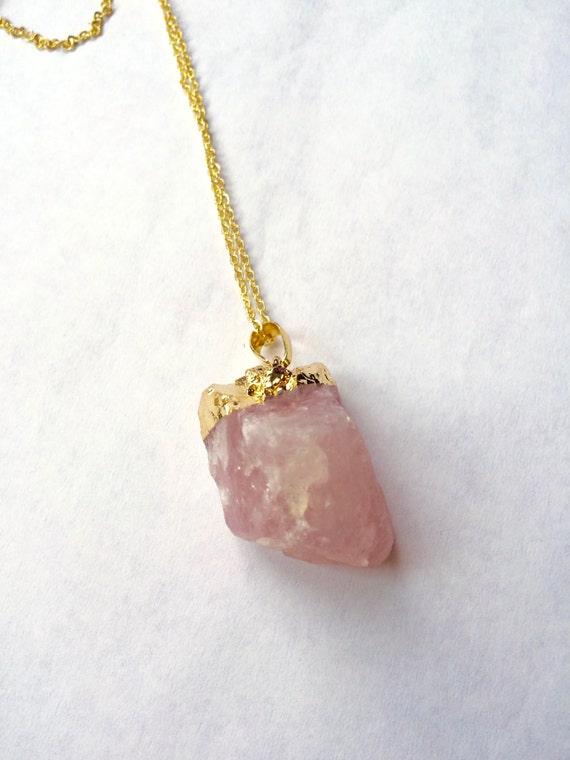 Rose Quartz Crystal Necklace Raw Rose Quartz by ...
