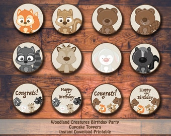 Woodland Creatures Birthday Printable Cupcake Toppers
