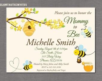Bee Baby Shower Invitation, Baby Shower Invitation, Bee and Honey Comb, Baby Shower, Bee Shower Invitation, Bee Invitation, Mommy to Bee