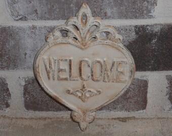 Cast Iron Heart / Heart WELCOME sign / Home Decor Cast Iron / Shabby Chic Art Decor