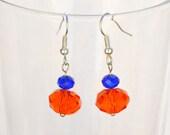 Glass Earrings - Orange and Blue - Beaded Earrings - Handmade Earrings - Gift Ideas - Gifts for Women - Pretty Earrings - Simple Jewelry