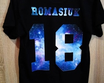 T-shirt with your name and number kosmos print t-Shirt with name and number Any name, any number, Custom name, Custom number shirt, UNISEX