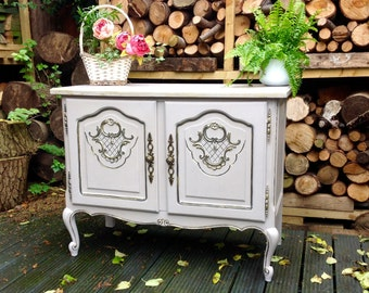 SOLD~~~Stunning Carved French Provincial  Shabby Chic Sideboard Dresser Cupboard TV  Cabinet Annie Sloan Chalk