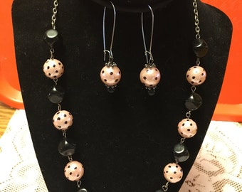 Handmade Pink and Black Polka Dot Necklace and Earrings Set