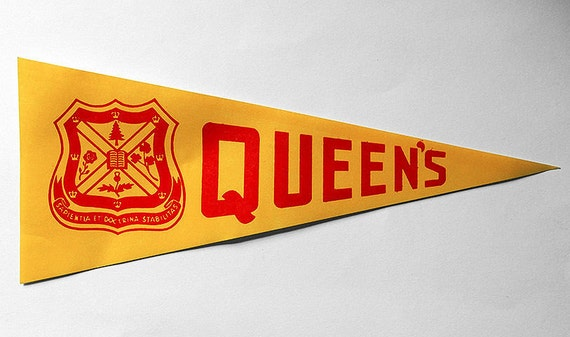 Vintage 1950s Queen's University Kingston Ontario Pennant-Shape Luggage Label