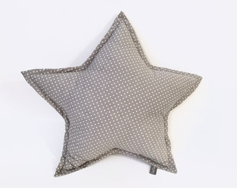 Gray Dots Star Pillow | Star Cushion | Decorative Star | Nursery Decor | Baby Pillow | Room Decor | Grey & White Dots Pillow