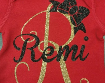 Personalized Red Glitter Short Sleeve Onesie with Bow