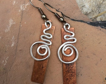 Spiral and Copper Earrings