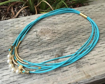 Turquoise Gypsy Necklace in Gold