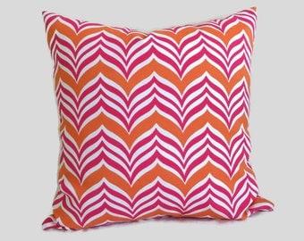 Pink Orange Pillow Ripple Chevron Indoor Outdoor Throw Pillow Cushion Cover Coastal Decor Patio Chair Pillow Decorative Lumbar Accent Pillow