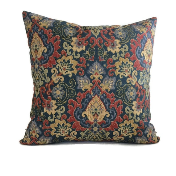Throw Pillow Waverly Pillow Blue Red Pillow Lumbar Pillow