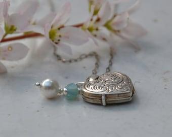 Vintage Sterling Silver Locket with Swarovski Crystal and Pearl