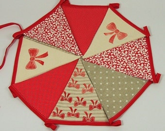 Bunting - girl deccor - red bows- girl room - FREE SHIPPING Over 25Eur Using Code FSDEC2015