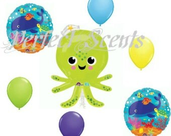 """7 pc- Large 34""""  Silly Octopus  Balloon Bouquet  set"""