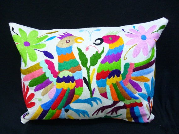 Throw pillow cover mexican embroidered case