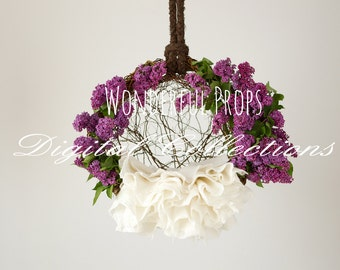 Lilac Hanging Nest - Digital Backdrop - Photo Prop for Newborn Photography