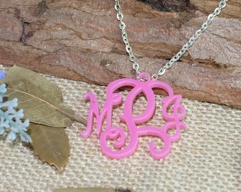 Monogram necklace,custom initial fashion necklace,charm pendant,acrylic monogrammed necklace,gift for her,sweet 16 gift,birthday gift
