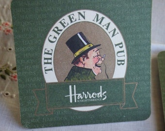 Vintage Set of 4 Harrods Coasters. Featuring The Green Man Pub. Cardboard. Iconic Harrods Knightsbridge.