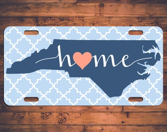 HOME NC License Plate North Carolina NC Custom Car Tag Customized Plate Personalized Gift - Customize your own!