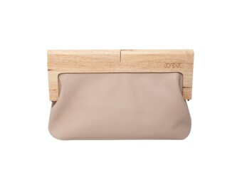 Wood clutch / Leather frame clutch / Beige leather clutch