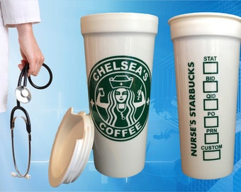 New and Improved! Nursing Starbucks Parody for Nurses RN, BSN, LVN - Great Nurse or Medical Student Graduation Gift! To-Go Coffee Travel Mug