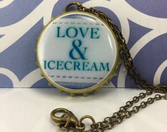 NECKLACE- Love & Icecream bottle cap necklace