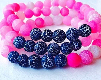 Hot Pink & Black Dragon Vein Agate Stretchy Bracelet. Handmade Bracelet