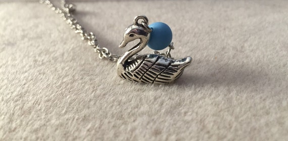 Silver Swan Aroma Bead or Lava Stone Bead Diffusing Necklace on Silver Chain. Aromatherapy Diffuser for Essential Oils. Choose Bead Color