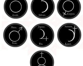 "Alchemical Symbols of the Planets of the Solar System 1"" Buttons"