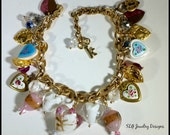 Glorious Hearts Charm Bracelet with Gold plated, Lampwork, and Italian Wedding Bead Hearts Charms