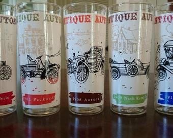 Vintage Antique Auto Tom Collins Glasses/ Nash Rambler/ Oldsmobile/ Packard/ Auto Cat/Maxwell/ Cocktail Glasses/ Antique Cars