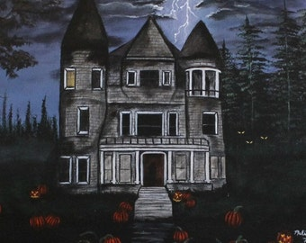 Folk Art Halloween Painting, Original Halloween Painting