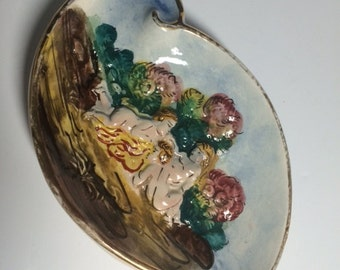 Capodimonte Small Dish; hand painted, Gift, Décor