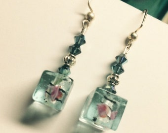 Murano glass cube earrings, handmade with love, for her, for you gift