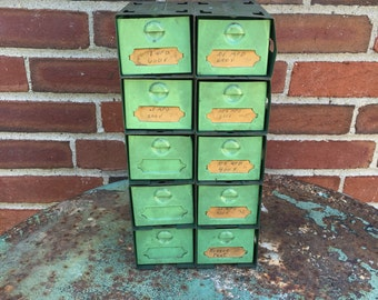 Vintage Mint Green Industrial Metal Drawers Cabinet Sturdy Hardware Handmade Organizer Pretty Centerpiece