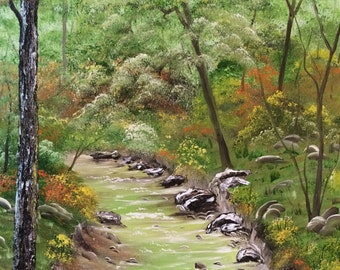 Down by the Creek Bank: bob ross style, oil painting, landscape oil painting, creek, woods, Indiana, bob ross painting, forest, creek bank