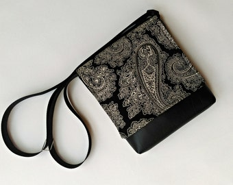 Paisley vegan faux leather messenger black and white bag