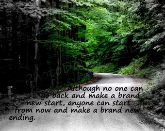Winding Road Through Woods with saying