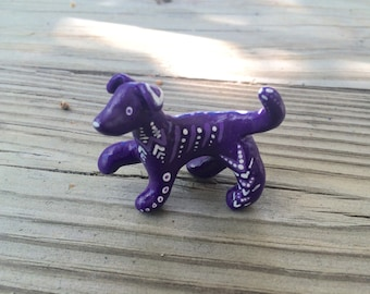 Polymer Clay Purple Dog Totem