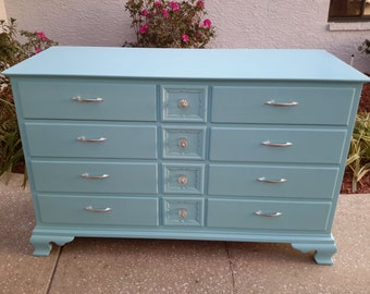 Sold!! Gorgeous Vintage Light Turquoise Solid Wood Dresser