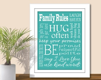 Family Rules Subway Art - Digital Wall Art. (Choose your Colors). Printable PDF or JPEG. Family print, Family Rules Word Art, home decor