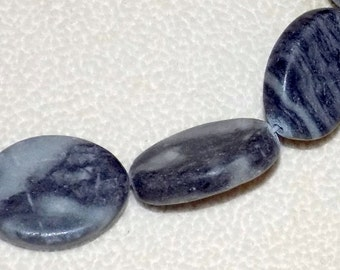 Black and Gray Flat Oval Marble Beads 20x18mm (15 inch strand)