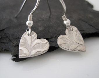Flowers Drop Earrings in Fine Silver   Handmade Solid Silver Floral Earrings   Heart Shaped Silver Flower Earrings