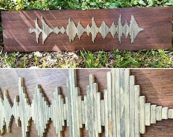 Custom Wood Soundwave Wall Art - Wood Wall Art - Soundwave Art - Unique Anniversary Gift - Unique Gift Idea